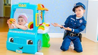 Erik and Gleb pretend play with Toy FOOD TRUCK