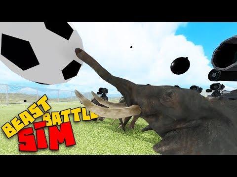 Epic Elephant Vs. Dinosaur Soccer Match! - Beast Battle Simulator Gameplay