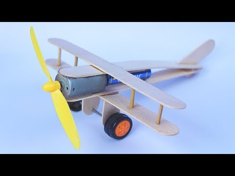 How to make Aeroplane with DC motor - Toy Wooden Plane DIY