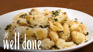 Crusty Baked Shells And Cauliflower:| Make Ahead Italian Dinner | Recipe | Well Done