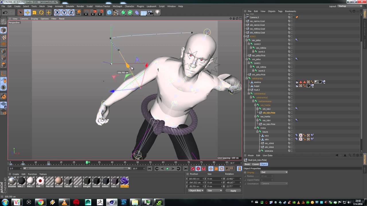 Cinema 4D - Animating / rigging rigged character - Sasuke Uchiha