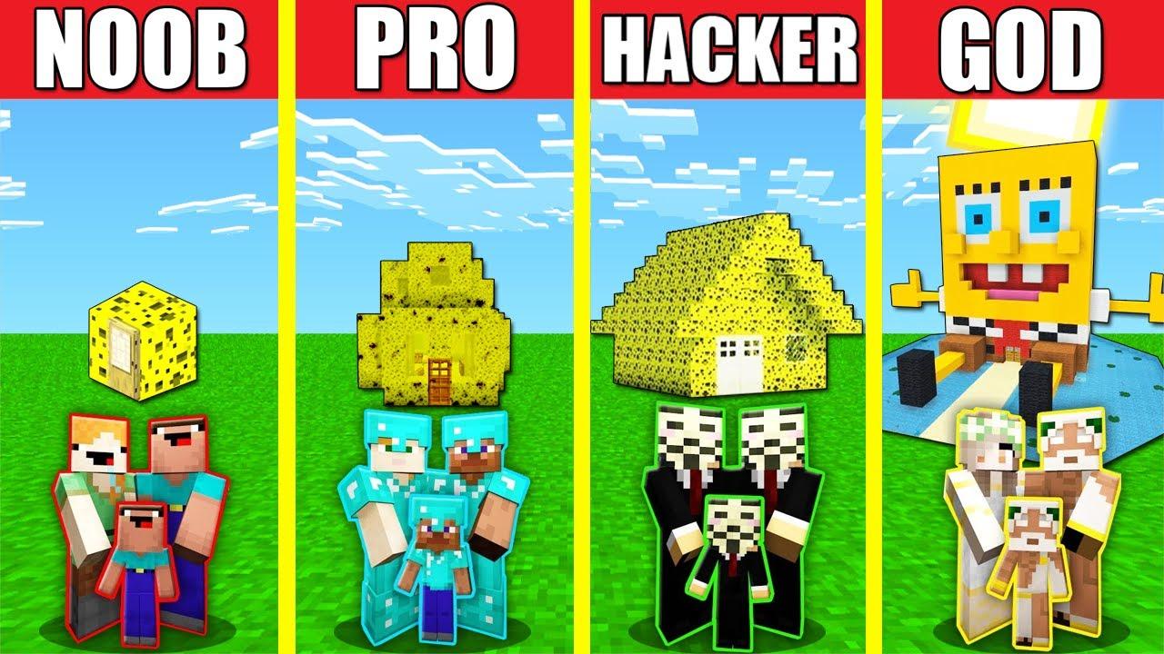 Minecraft Battle  Family Sponge House Build Challenge   Animation