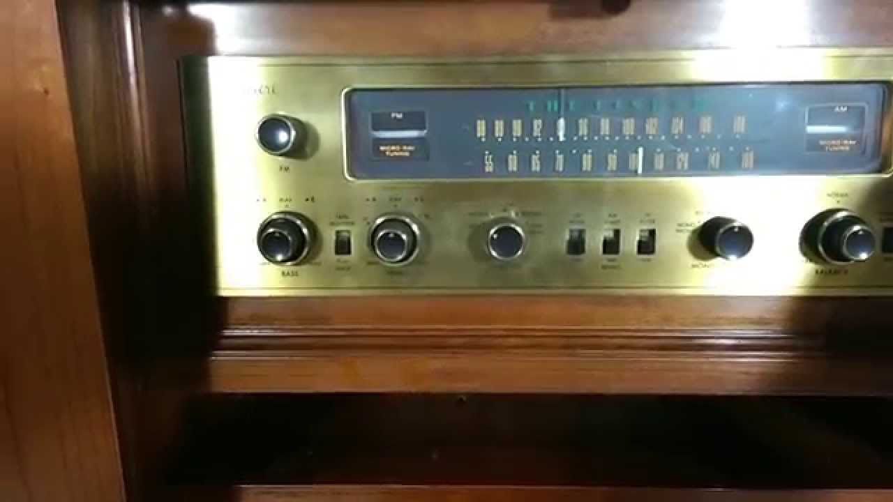 Fisher Premier Tube Console 220 TA-600 Receiver Driving External Speakers - YouTube