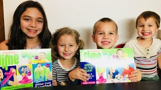 Nickelodeon Slime Kit vs. Four Kids. DIY Four Different Kinds