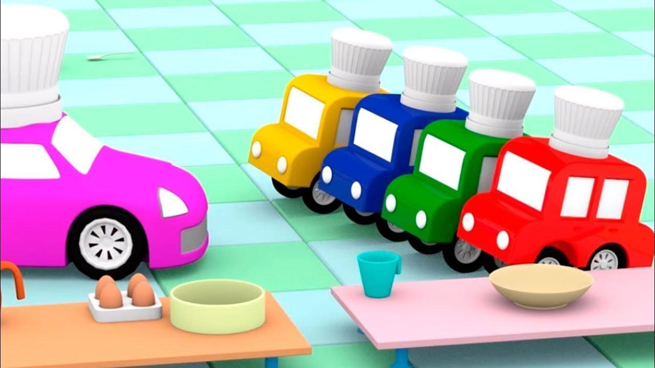 4 carros aprendem a assar pão. Desenhos animados para crianças. Animação infantil de carros