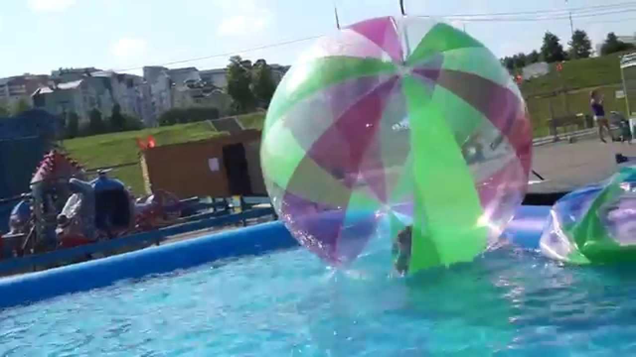 Надуваем Аквазорб Водный шар аттракцион - YouTube
