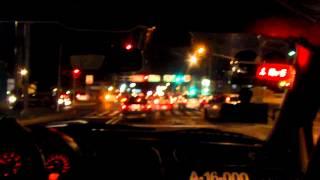 Taxi ride through Mexico City at night
