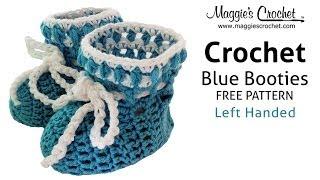 Blue Baby Bootie Free Crochet Pattern - Left Handed