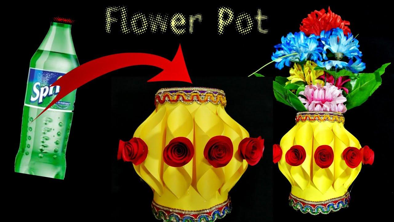 How To Make Flower Pot With Plastic Bottle Plastic Bottle Flower Vase Guldasta Banana