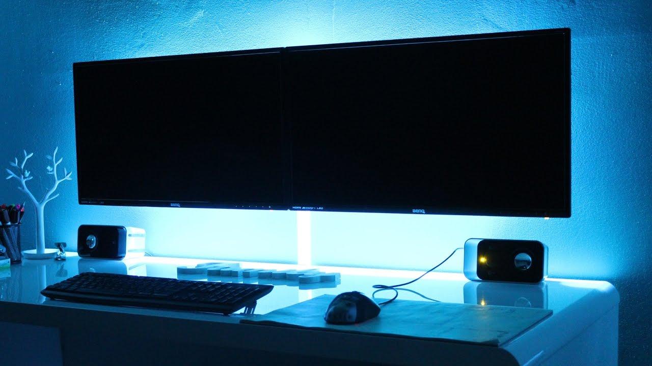 Budget Gaming Setup Dual Monitor & T.V Wall