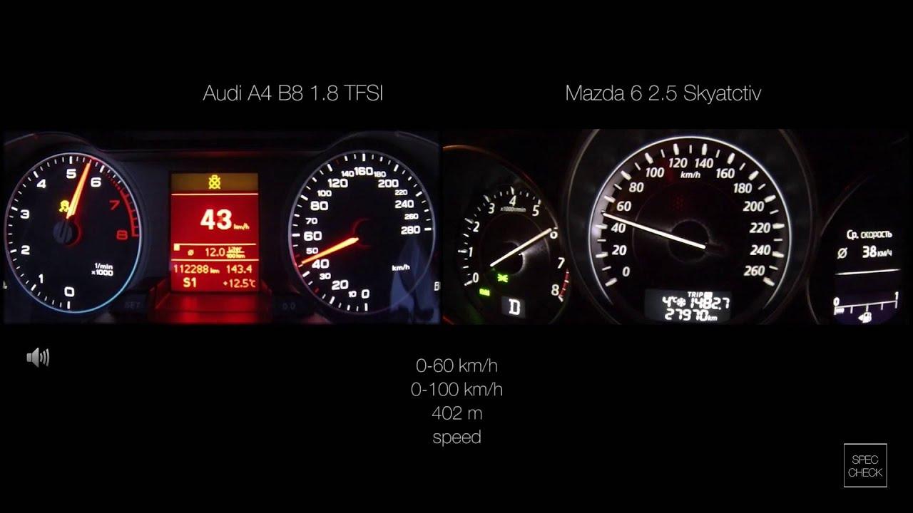 Mazda 6 2 5 skyactiv vs A4 B8 1 8 TFSI 0 100 racelogic acceleration