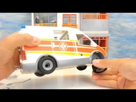 playmobil krankenwagen mit blaulicht sirene 6685 auspacken. Black Bedroom Furniture Sets. Home Design Ideas