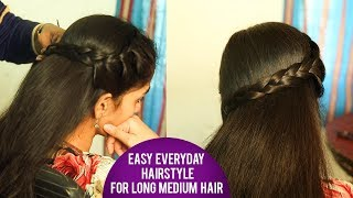 Easy everyday hairstyle for long medium hair | Latest Hair Style 2018