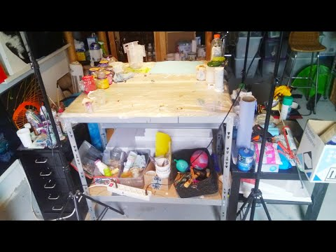 Acrylic pouring: Workspace setup follow me around for tips & tricks, storing & drying