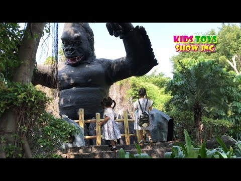 GIANT Gorilla in zoo Africa adventure animals for children video for kids
