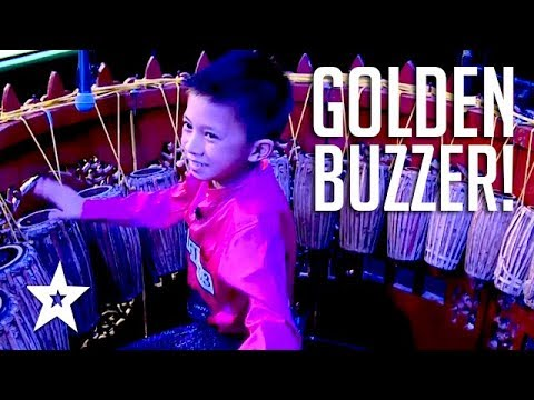 12 YEAR OLD KID DRUMS His Way To A GOLDEN BUZZER On Myanmar's Got Talent 2018