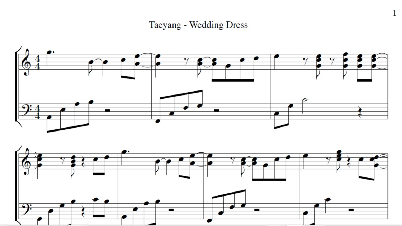 Wedding dress taeyang piano sheet music with letters tae Wedding dress piano sheet