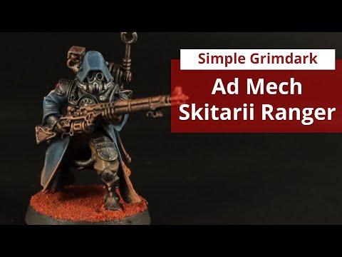 Simple grimdark Ad Mech Skitarii in blue and brown |