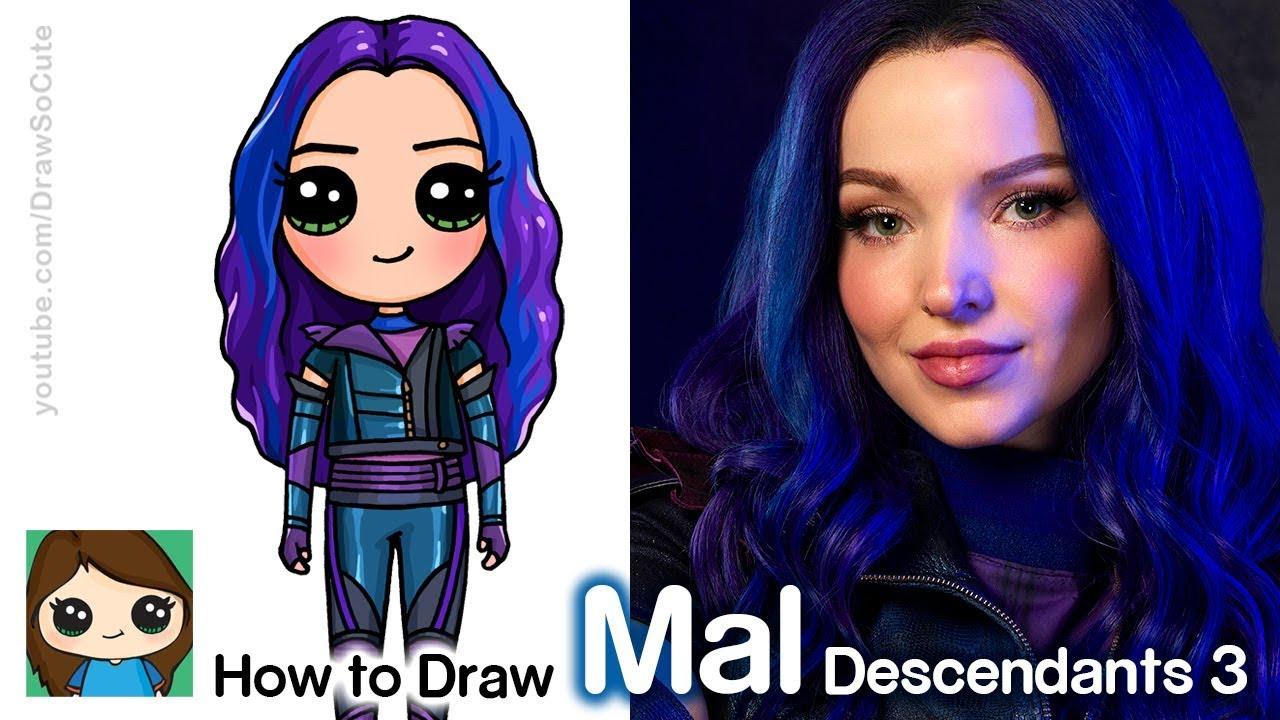 How To Draw Mal Disney Descendants 3