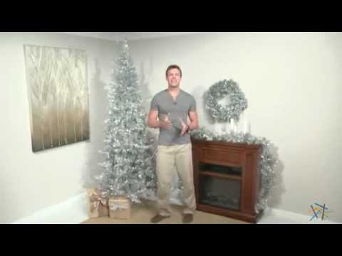 Silver Tiffany Tinsel Pre Lit Christmas Tree Product Review Video