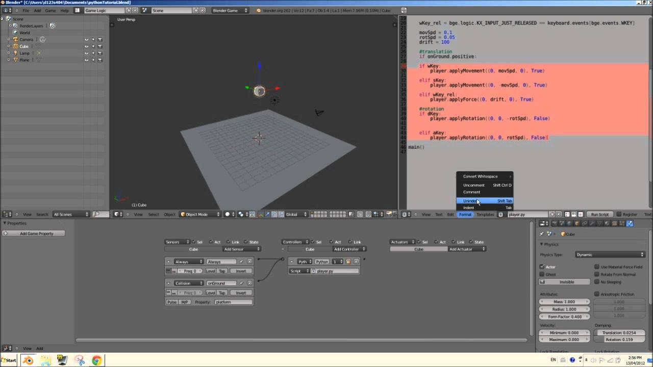 mouselook blender 2.6