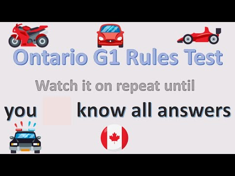 Ontario Canada G1 test questions to get driving license
