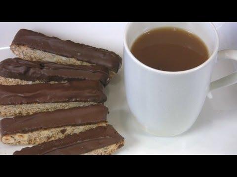 Chocolate Dipped Hazelnut Biscotti