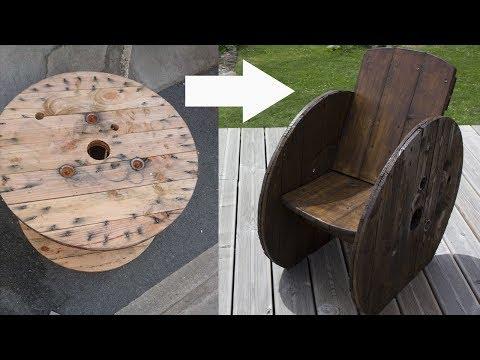 Fabriquer un fauteuil de jardin avec un touret en bois for Fabriquer un fauteuil de jardin en bois