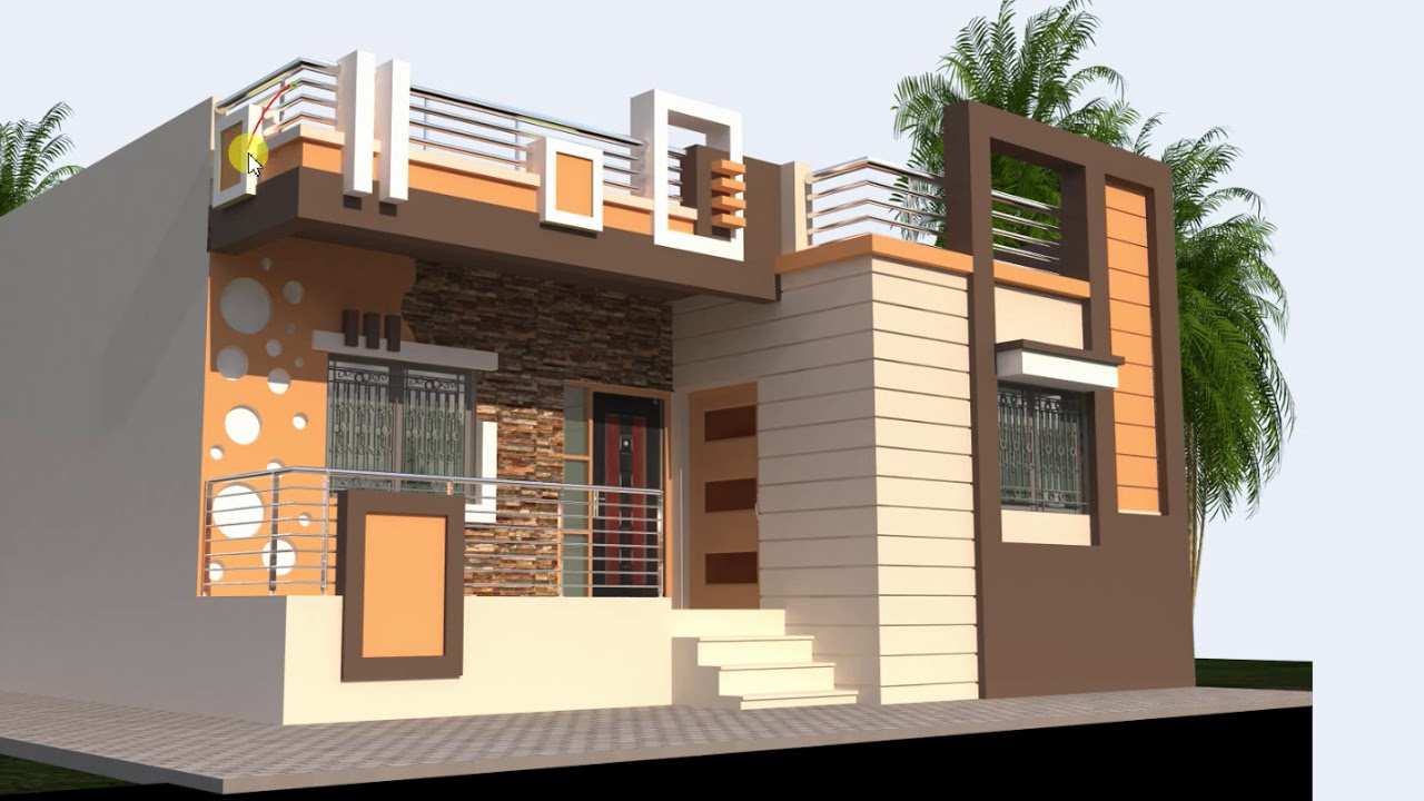 32 Feet Wide Low Cost House Front Design Youtube