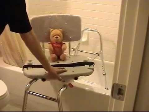 Sliding Transfer Bench with Swivel Seat - YouTube