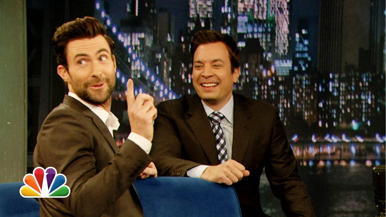 adam levine does his best aaron neville late night with jimmy