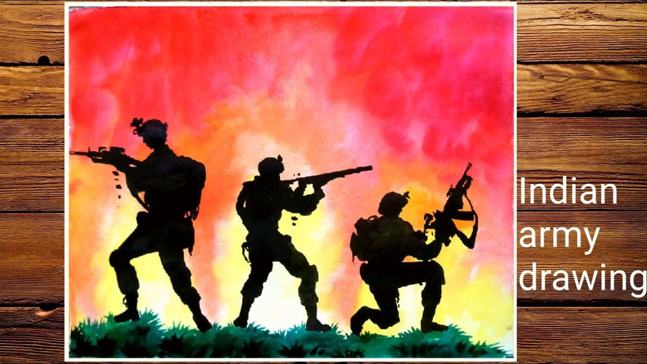 Kargil War Drawing Easy Indian Army Painting By Water Color Youtube