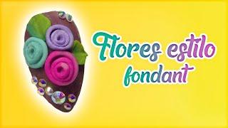 Flores estilo fondant3D Uñas Acrílicas #1
