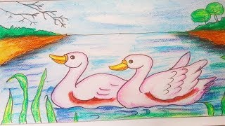 How to draw landscape Scenery of lake. Landscape scenery of swans in lake.