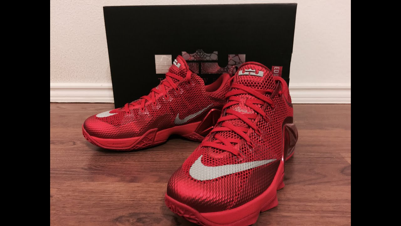 size 40 cd15f 00dcf Lebron 12 Low Red all over Red unbox & on foot review