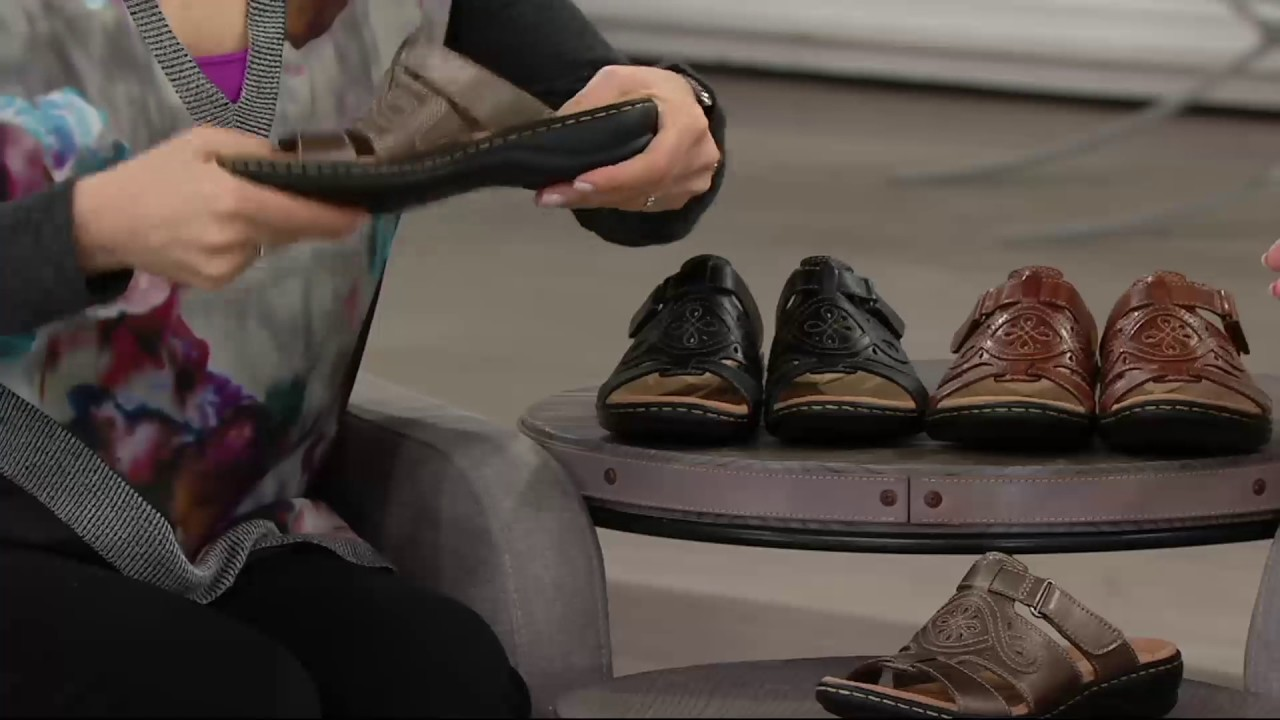 747e682dbda Clarks Leather Adjustable Slide Sandals - Leisa Higley on QVC - YouTube