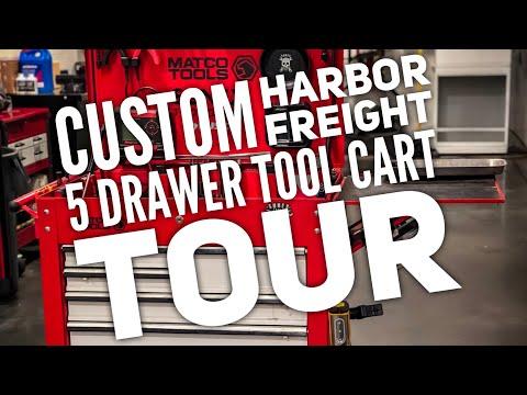 Custom Harbor Freight 5 Drawer Tool Cart Tour