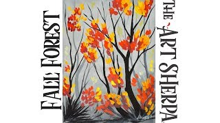 EASY acrylic painting Fall forest Step by step for beginners