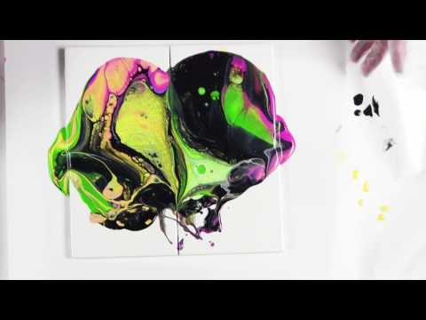 Colour Play Day 3 by, Leslie Ohnstad-Paint Pouring with Primary Elements and Acrylic paint