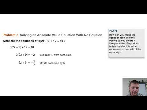 Algebra 1 3-7 Absolute Value Equations & Inequalities: Problem 3 - Solving Abs Val Eqn w No Solution