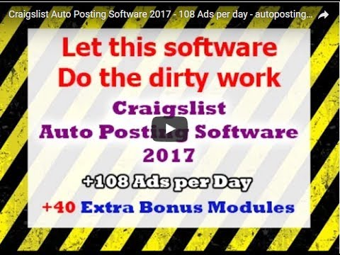 Craigslist Auto Posting Software 2019 - 143 software tools included - (auto  posting tools)