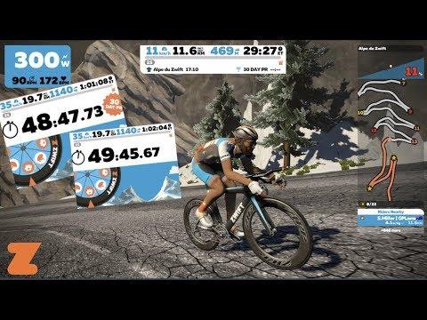 Alpe du Zwift Climb Times - Road Bike vs TT Bike