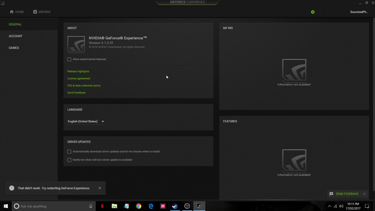 Geforce Experience not working? Not connected to Nvidia, not scanning games?