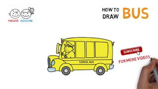 How to Draw a School Bus | Drawing Easy Step by Step | Massive Kidszone