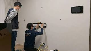 LG77인치OLED 석고가벽 허당벽에 벽걸이tv설치 명…