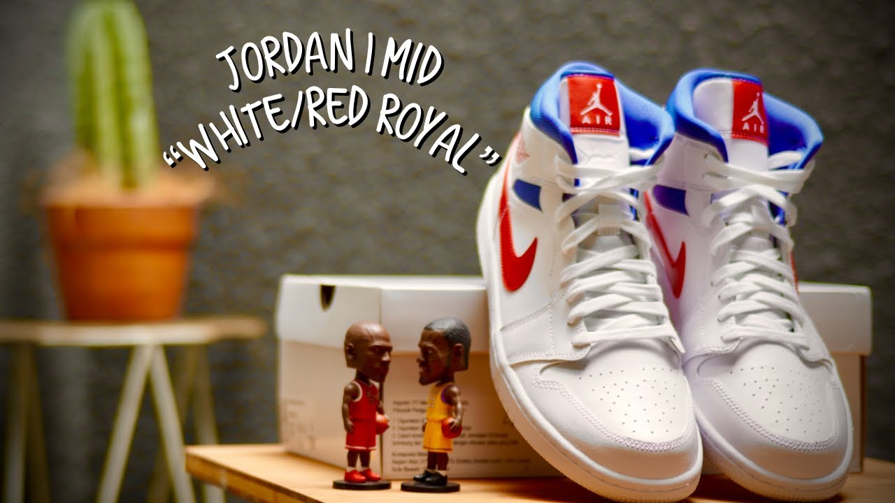 """Air Jordan 1 Mid """"White/Red Royal"""" PATRIOT - On Feet & Close Up 360 w/  Three Different Outfit - YouTube"""