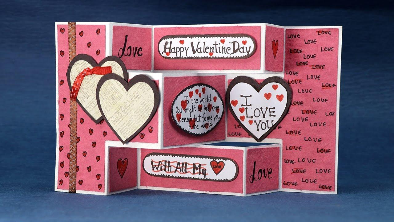 Homemade Valentine Card DIY Trifold Love Card Step By