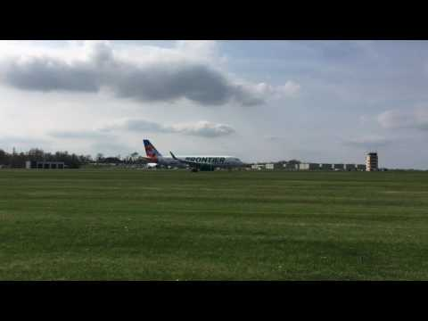 First Frontier Airlines A320neo landing at Trenton-Mercer Airport