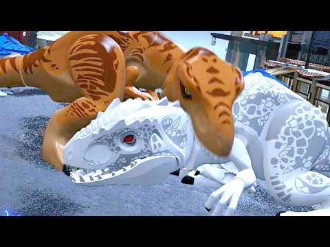 LEGO Jurassic World - Indominus Rex VS T-Rex + Ending [Full Battle]