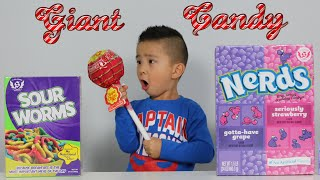 Giant Gummy Worm Candy Challenge VS  - Mommy Freaks Out!-